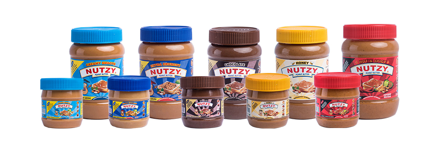 Nutzy creamy smooth, crunchy, chocolate, honey and ose oji flavours